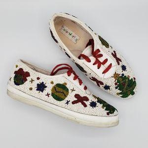 Colorwerks vintage Christmas beaded shoes 722-44